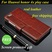 Luxury Business Style Real Leather Mobile Phone Case Cellphone Shell for Huawei Honor 4X Play