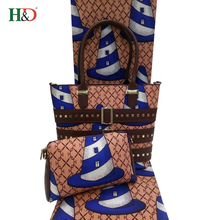 H & D Best Price Tote Bags Super Wax Print Africa Guinea Brocade Fabric With Custom Printed Logo