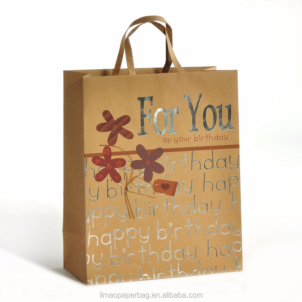 2016 fancy laminated gift bag with gold foil