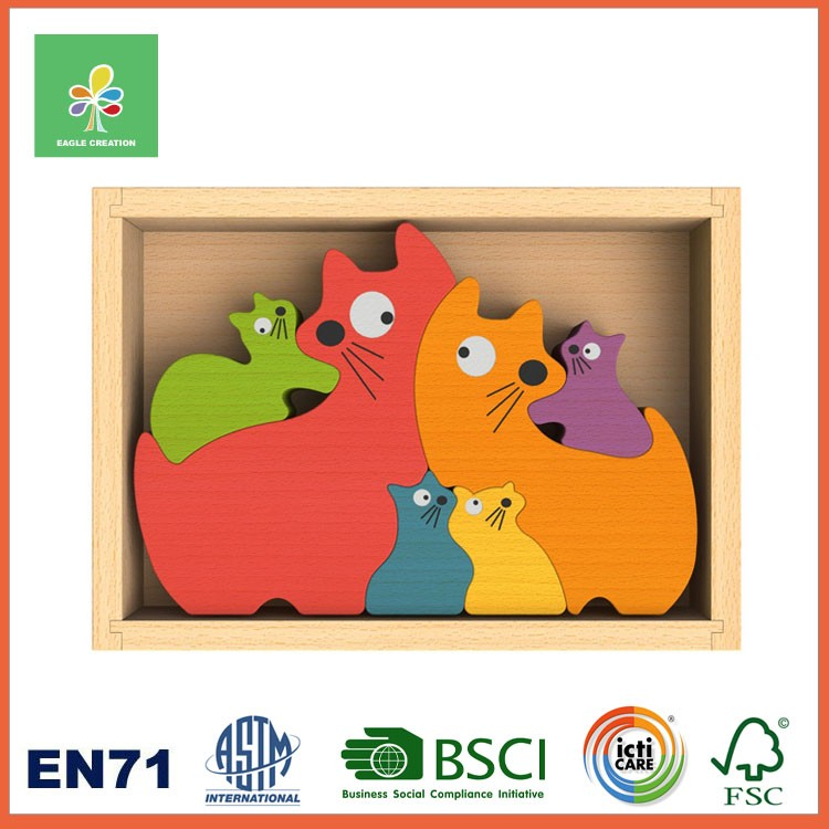 Animal Shaped Wooden Jigsaw Puzzle in a Wooden Tray