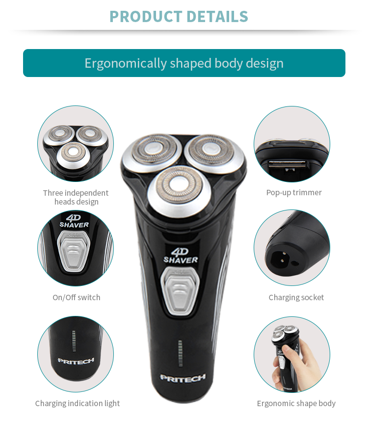 PRITECH Manufacturers Triple Blade Rechargeable Waterproof Electric Shaver