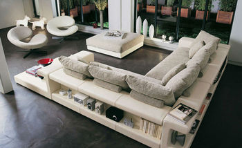 French style sofas, Modern Design Leather Mix Fabric Corner Sofa Set with Tea Table Ottoman L Shaped Sofa Hot Sale 9006