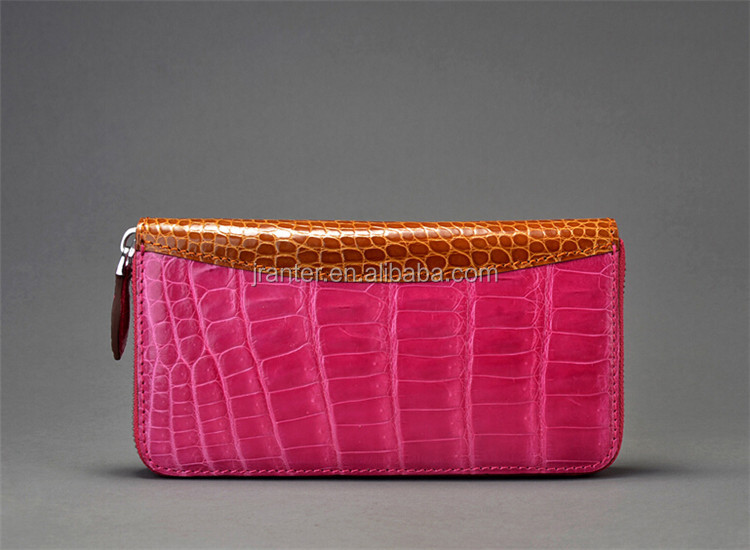 Famous brand 100% genuine crocodile skin leather wallet woman