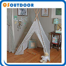 Large Canvas Kid Teepee Tent Carry Case Tall Multiple Colors With 4 Wooden Pole Style