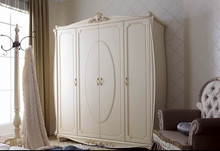 YM016 luxury antique elegant french ivory white solid wood wardrobe armoire closet bedroom home furniture customized allowed