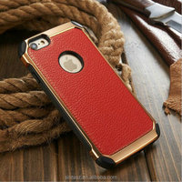 Noble lychee veins fashion PU phone case, Strong shockproof golden plating PC shell case with leather for iPhone 6s/6s Plus