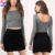 All match latest popular black stretch knitted mini skater skirt