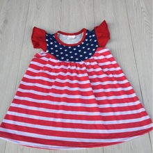 fast shipping girls cotton frock designs red with white striped pearl sleeve july 4th independence day dress