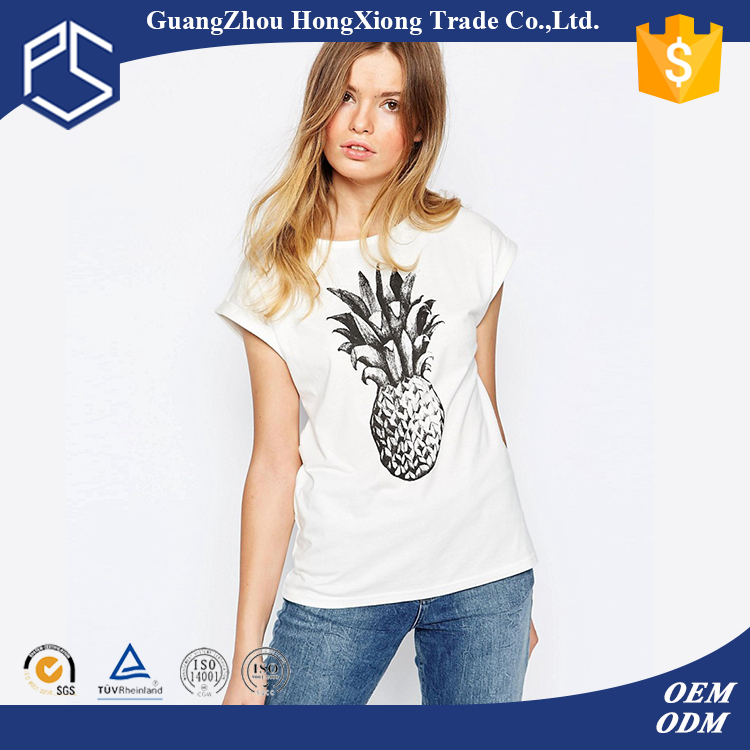 China Factory Hongxiong 180 Grams Short Sleeve Round Neck Cotton Printing White 3d T-Shirt Sex Girls Photos New Style