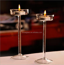 China manufacturer handmade long-stem glass candle holder crystal candle stand for weddings decorations