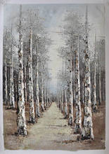 pallette knife image birch tree wall decor impressionist art paintings