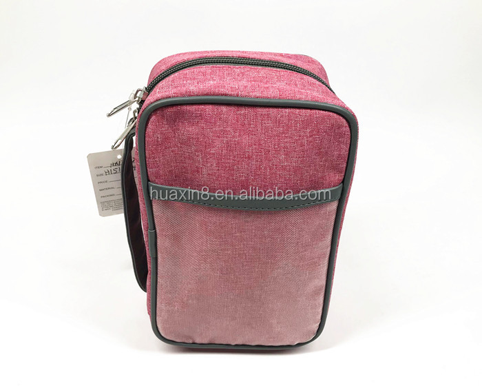 Wholesale hang denim polyester brush travel toiletry carry bag