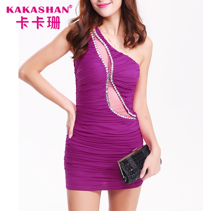One Shoulder Party Dress Mature Women Short Tight Summer Sexy Mini Dress