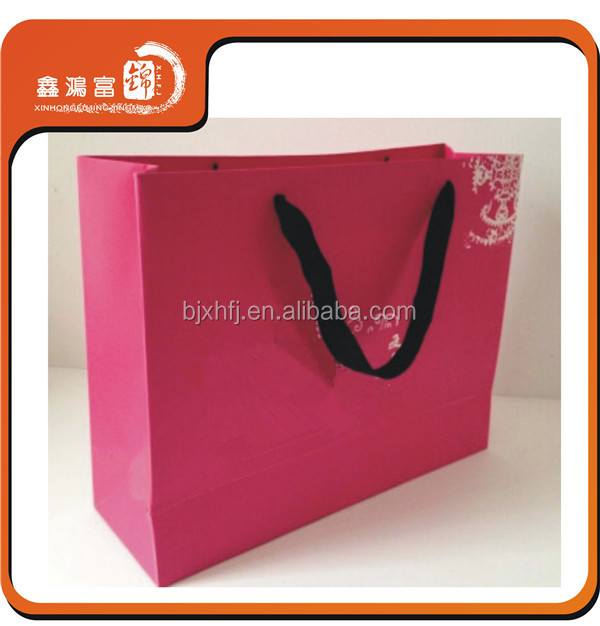 Beautiful design retail cheap price elegant pink shopping craft paper bag for christmas
