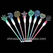 Bar item plastic glowing light up LED cocktail stirrers for New Year