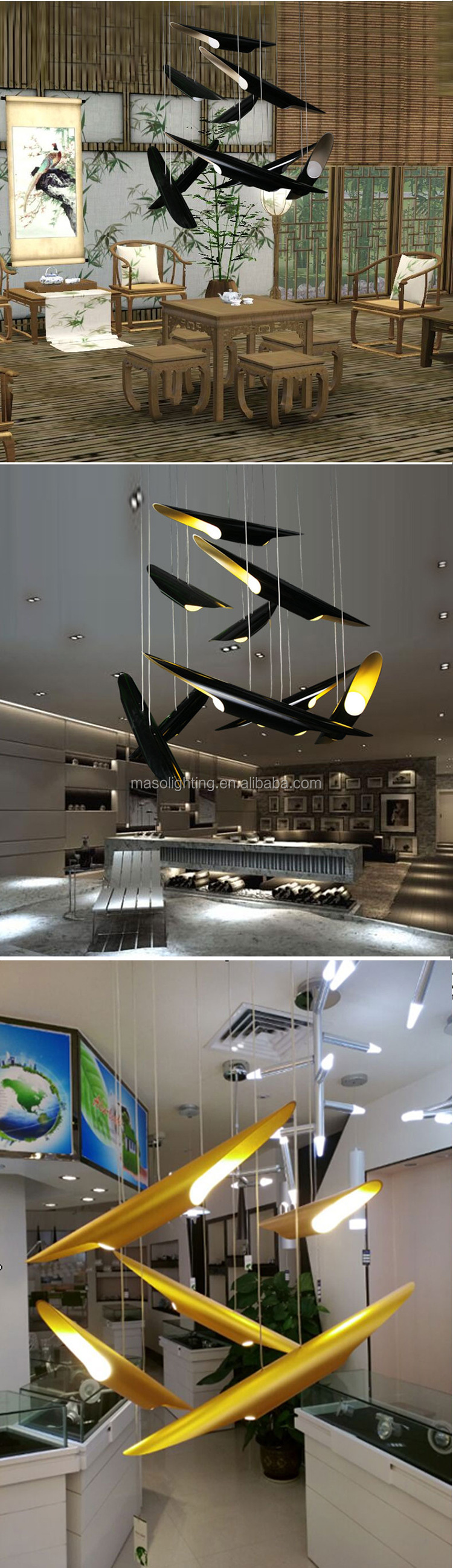 Modern firefly Scene display pendant lamp with adjustable wire Hotel Home villa Personal creative Aluminum Art light fixture