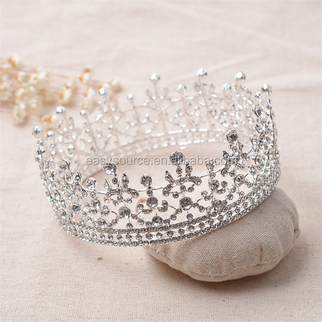 full cricle round custom made bridal princess crystal rhinestone Alloy pageant tiaras and crown