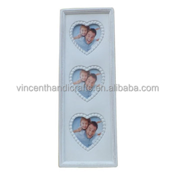 Three pieces heart small wooden photo frame for wall amount decoration