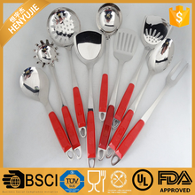 Hot Sale 9pcs Stainless Steel Kitchen Utensils cookware set with red plastic handle