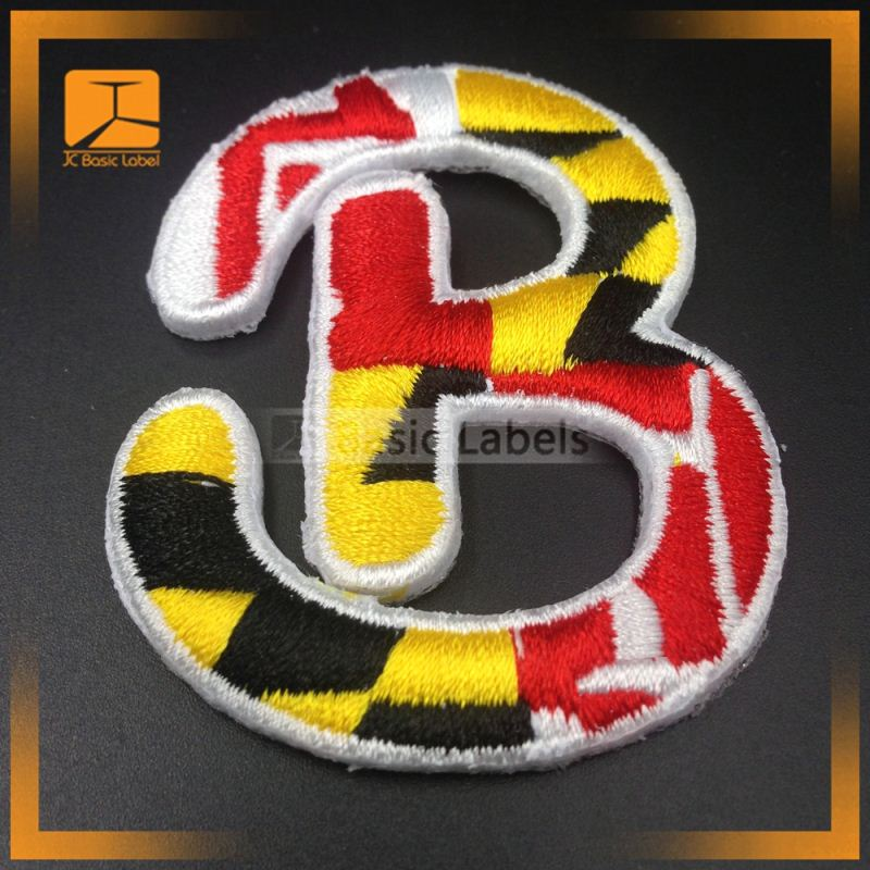 Factory handmade 3D appliqued polyester iron custom embroidery patches for clothing
