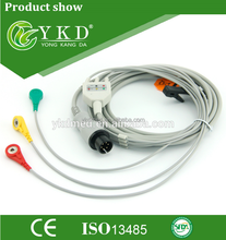 Compatible GE 3 lead ECG Trunk Cable IEC with CE/ISO13485,6Pin,Snap