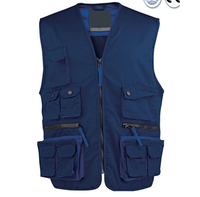 custom design Guangzhou factory wholesale multi pocket safety sleeveless working tool vest with zipper