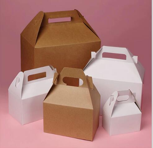 Natural kraft&white gable fancy boxes with handy handle