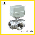 3 way 1 inch AC220V DN25 electric motor ball valve stainless steel for water treatment