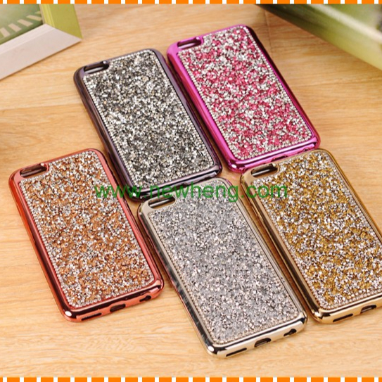 Luxury diamond Rhinestone electroplating soft tpu phone case for iPhone 8