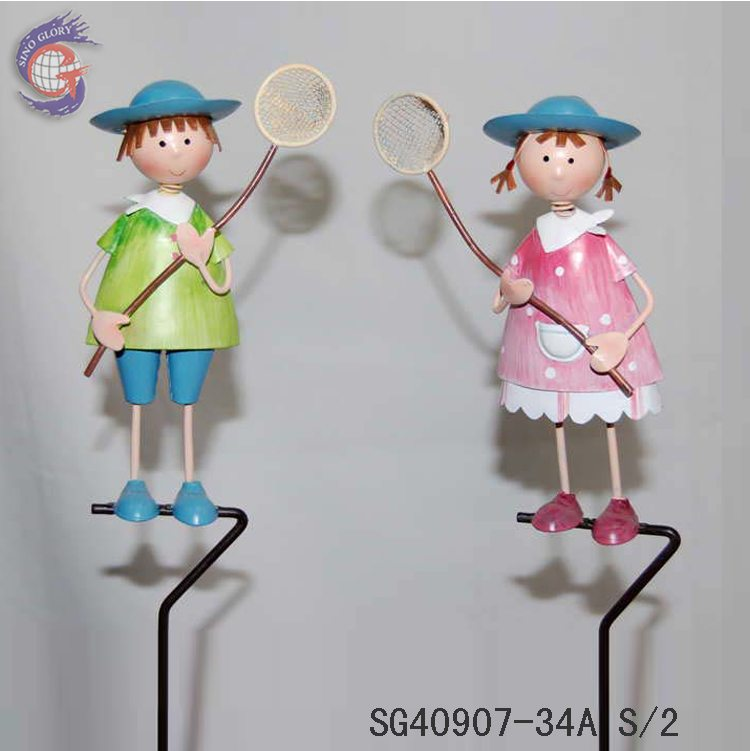 export metal boy and girl craft for garden decoration