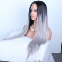 2015 Top Selling Customed Two Tone Ombre Color 28inch Straight Human Hair Grey Lace Front Wig
