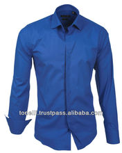 Stylish Extra Slim Fit Royal Blue Dress Shirts for Men - Free DHL Express Shipping