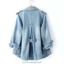 Jeans Jacket Women 2017 Vintage Bf Wind Coat Female Loose Casual Double Breasted Jaqueta Feminina New Spring nzwt-57