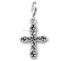 Wholesale DIY Jewelry Accessories Antiqued Silver Plated Lobster Clasp Cross Charms