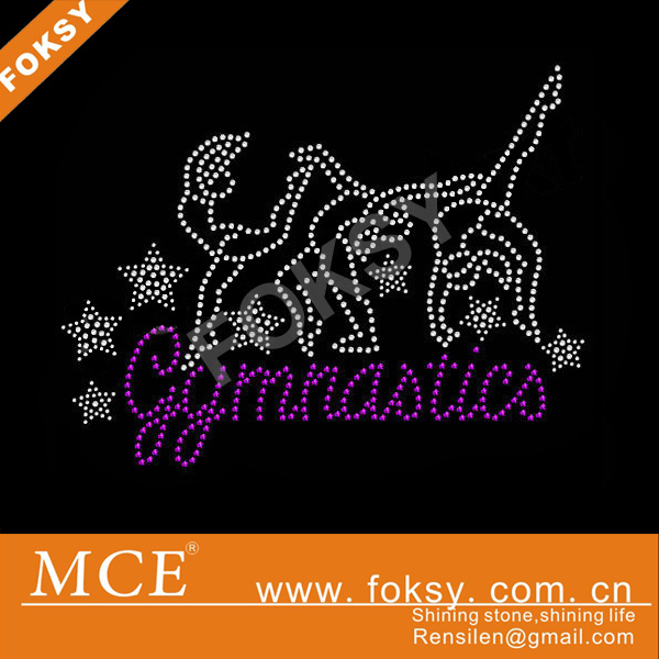 pretty gymnastics rhinestone heat transfers,rhinestone motif dance for T-Shirt