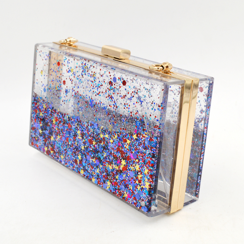 Handmade quicksand handbag colors evening bag Transparent Acrylic glittered flowing liquid clutch