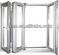 China manufacture double glazed aluminum folding doors with blinds