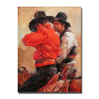 Cowboy modern figure oil painting abstract human portrait canvas wall art cheap large size