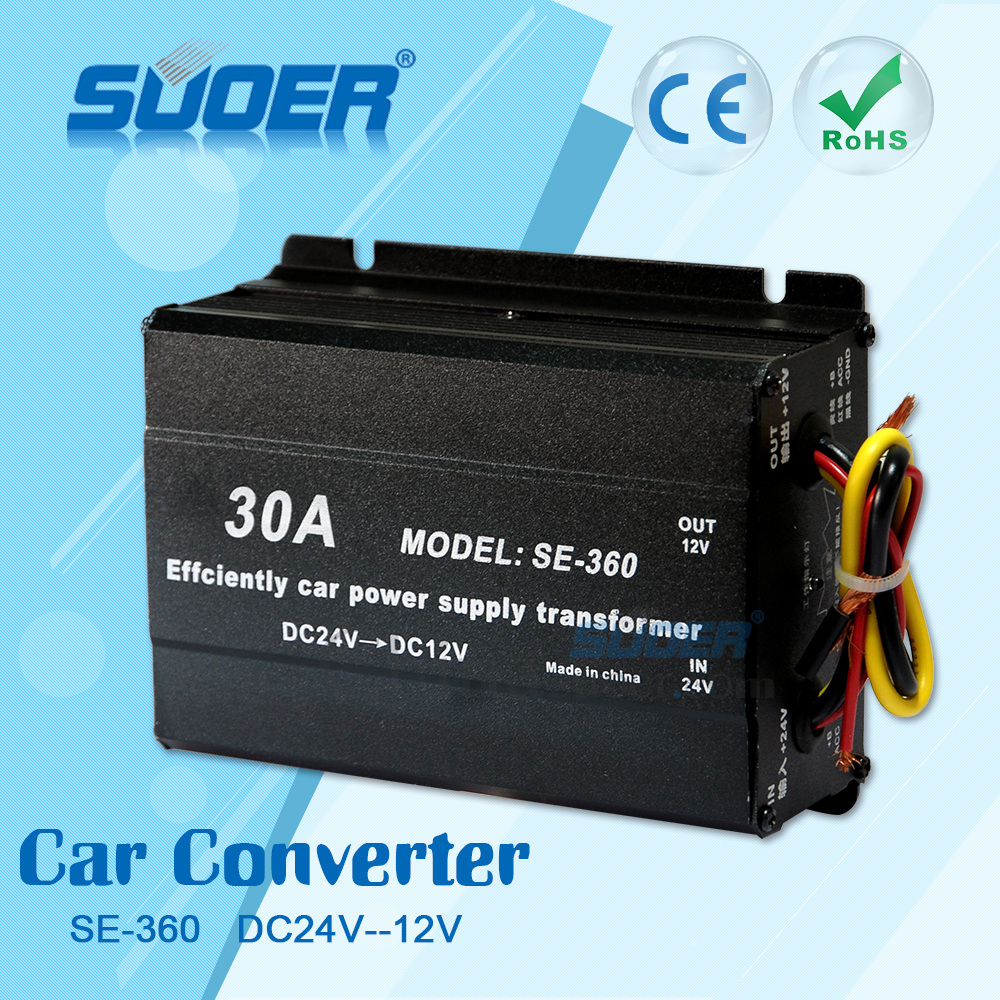 Suoer Car DC Buck Converter 30A Car Step Down Transformer DC24V to DC12V Converter