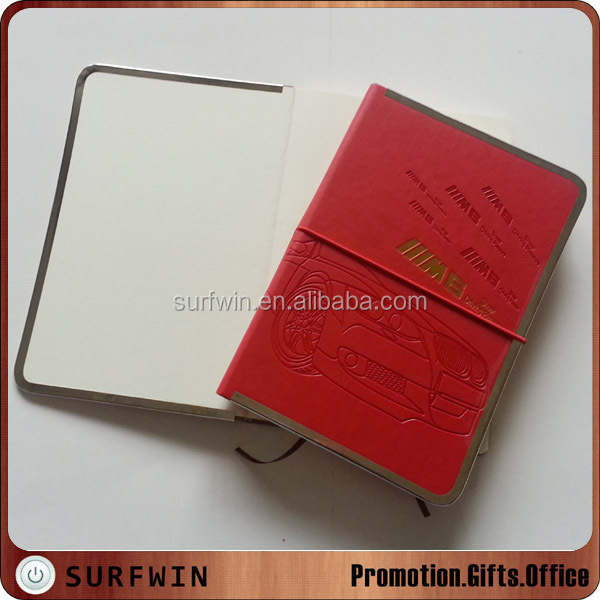 2015 newest thermo PU cover diary with metal edges