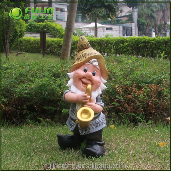 Garden Gnome Playing Musical Instrument Decorative Statue