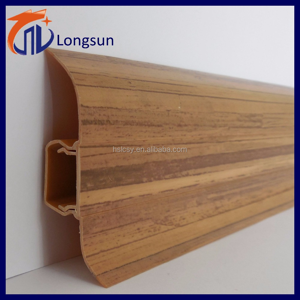 Huangshan Longsun pvc profile skirting for laminate/bomboo/vinyl/polystyrene/wood/plastic flooring