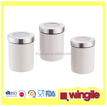 Colorful Stainless Steel tea canister Set with Windows lids