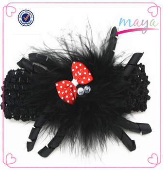 Novelty toddler girls balck feather spider halloween hair band
