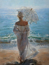 Abstract Landscape Oil Painting Beautiful Lady With White Dress And White Unbrella Stand On Seaside Beach Oil Painting On Canvas