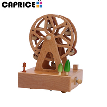 Portable rotating carousel mini wedding favors wooden music box