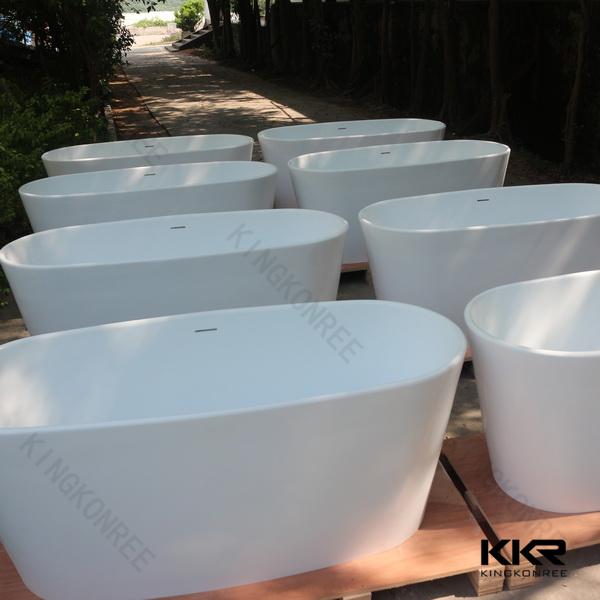 Stone resin oval shape freestanding bathtub for two person for Freestanding stone resin bathtubs