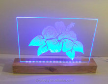 LED usd wood base Etched Battery Operated Multicolored Orchid Blossoming Flower
