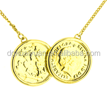 Wholesale 18k gold plated turkish coin necklace