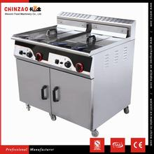 CHINZAO Hot Products To Sell Online Stainless Steel 2 Tanks Gas Deep Fryer With Cabinet